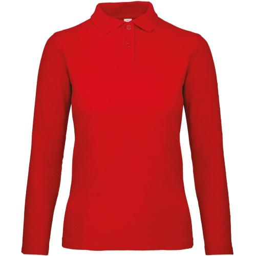 Polo femme ID.001 manches longues - rouge