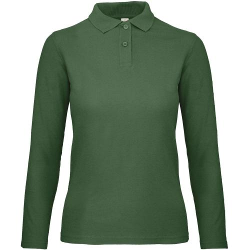 Polo femme ID.001 manches longues - vert bouteille