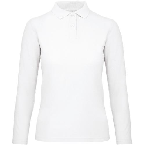 Polo femme ID.001 manches longues - blanc