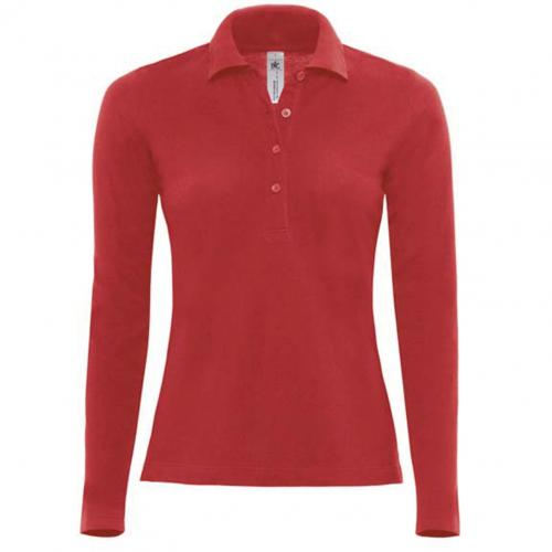 POLO FEMME SAFRAN MANCHES LONGUES - rouge