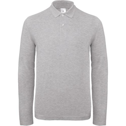 Polo homme ID.001 manches longues - gris chiné