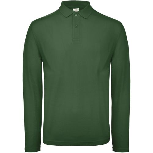 Polo homme ID.001 manches longues - vert bouteille