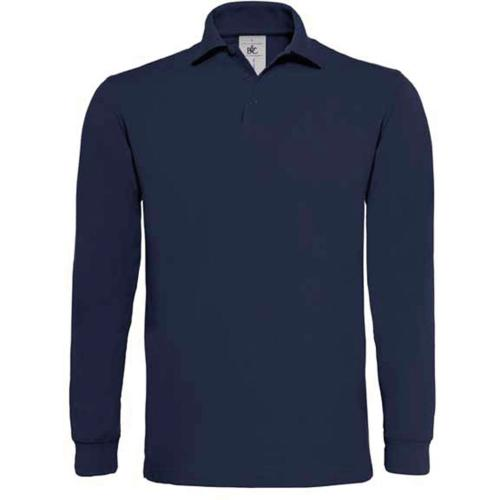 POLO HOMME MANCHES LONGUES HEAVYMILL - bleu marine