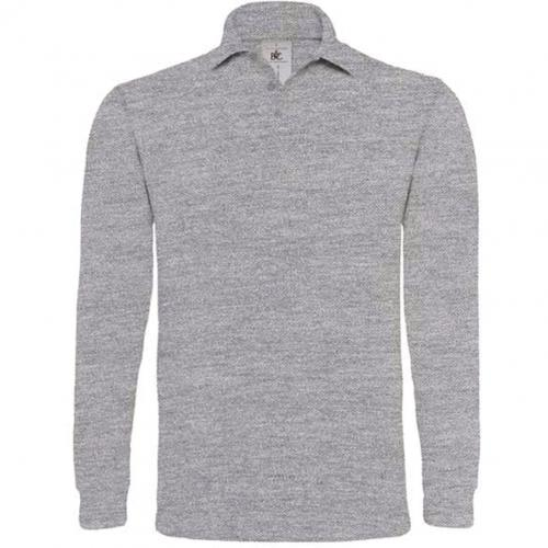 POLO HOMME MANCHES LONGUES HEAVYMILL - gris chiné