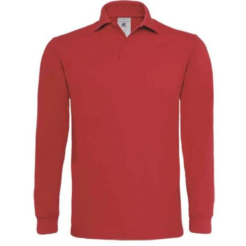 POLO HOMME MANCHES LONGUES HEAVYMILL - rouge