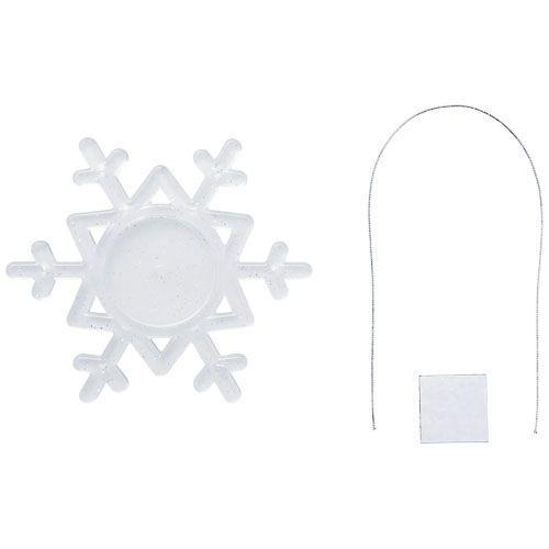 Décoration Elssa en forme de flocon de neige - blanc givré