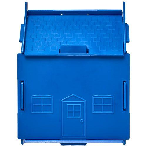 Tirelire plastique Uri en forme de maison - bleu