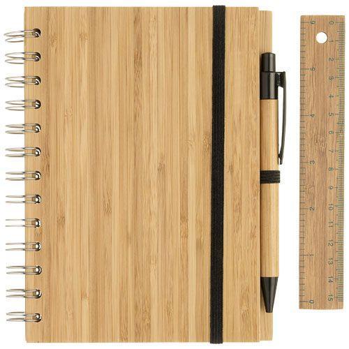 Set bloc-notes format B6 en bambou avec stylo et règle Franklin - bois