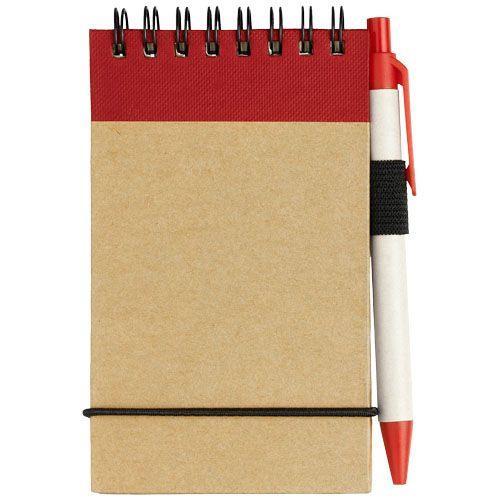 Bloc-notes recyclé format A7 avec stylo Zuse - rouge