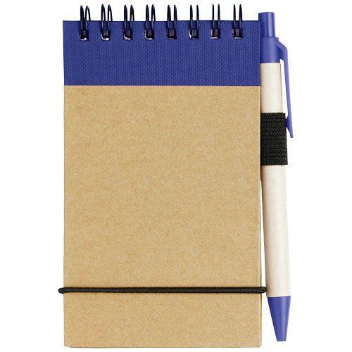 Bloc-notes recyclé format A7 avec stylo Zuse - bleu marine
