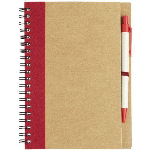 Carnet de notes recyclé avec stylo Priestly - rouge