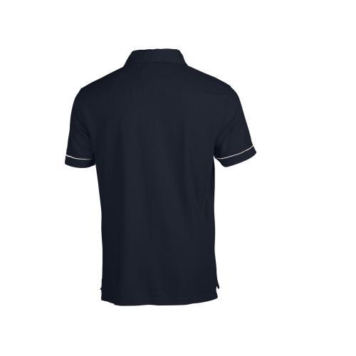Polo coton col zippé - bleu marine