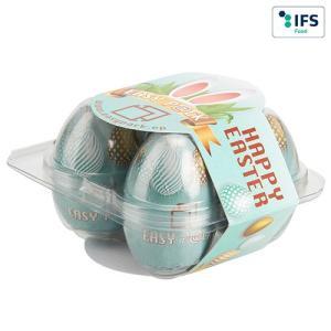 Boîte à œufs carrée pour 4 œufs avec banderole