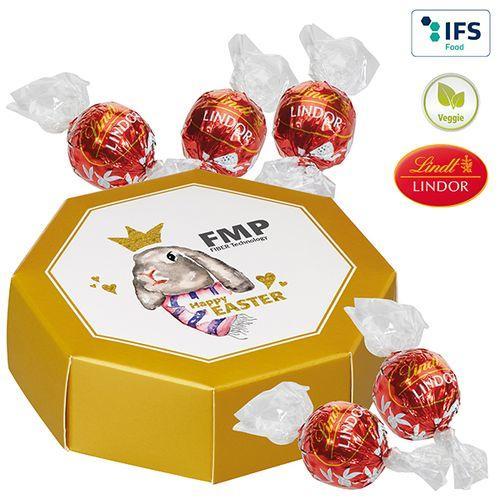 Boîte cadeau octogonale avec cinq Lindor de Lindt -