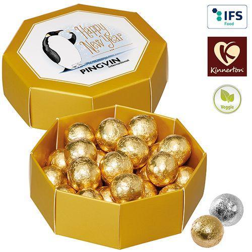 Boîte cadeau octogonale avec des perles au chocolat de Kinnerton -