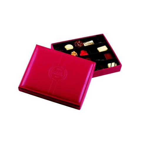 Boîte cuir rouge garnie 20 chocolats assortis  sans alcool -