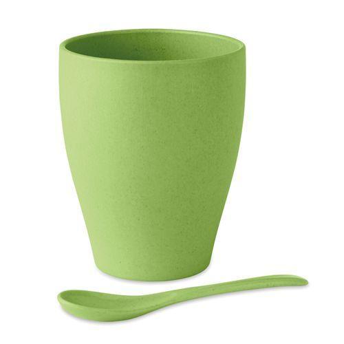 Mug avec cuillère bambou / PP - jaune citron