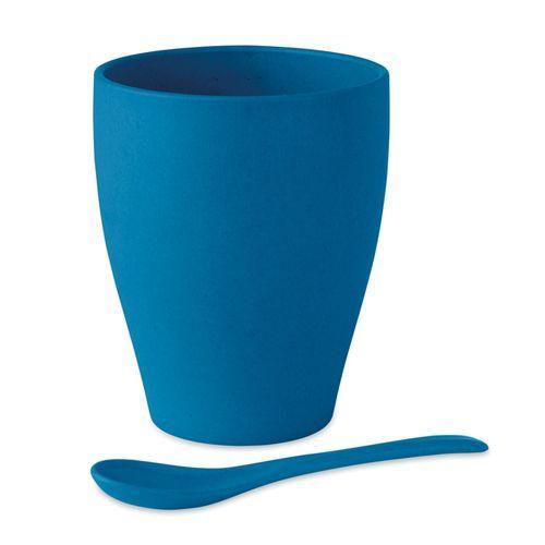 Mug avec cuillère bambou / PP - bleu