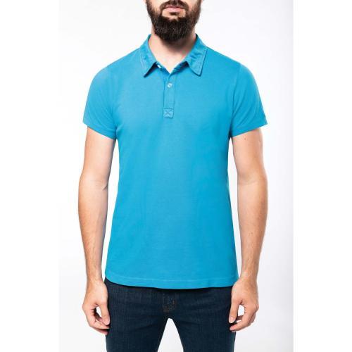 Polo manches courtes homme - bleu aqua