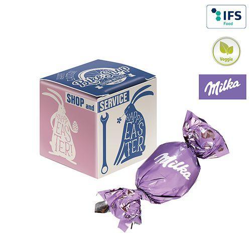 Mini-cube publicitaire avec un œuf de Pâques de Milka -