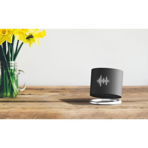speaker light ring 3W - gris argenté - logo lumineux blanc - Stock - bleu saphir