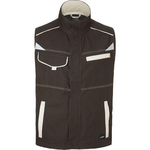 Bodywarmer workwear Fermeture zippée avec protège menton - marron