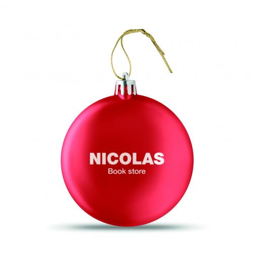 Boule de Noël plate - rouge