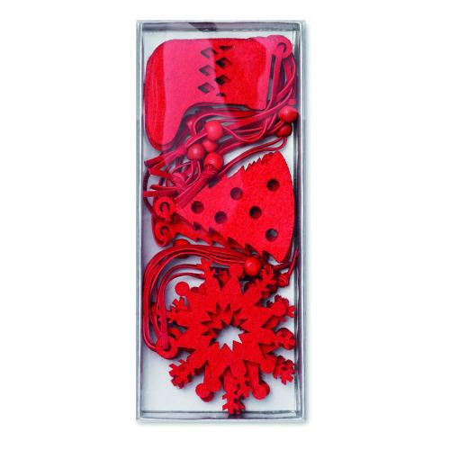 12 décorations pour sapin - rouge
