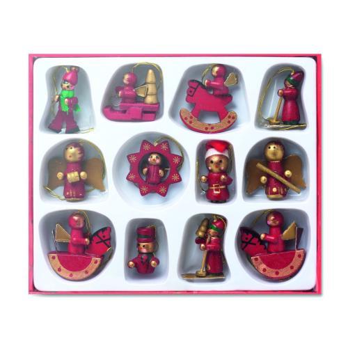 Set déco en bois (12 pièces) - rouge