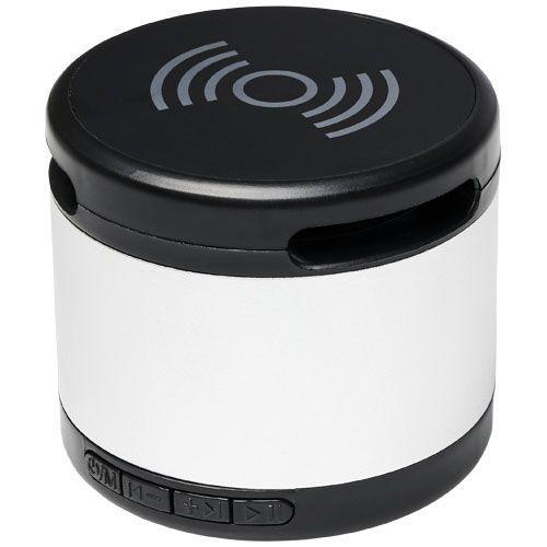 Haut-parleur Bluetooth® Jones métallique avec tapis de charge sans fil - argenté