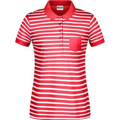 Polo rayé marinière Femme - rouge