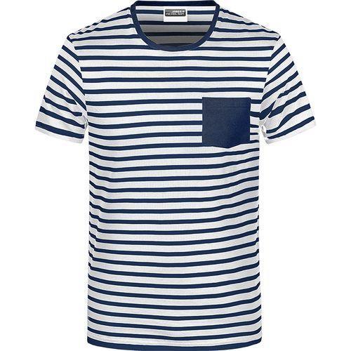 T-shirt bio rayé Homme - bleu marine