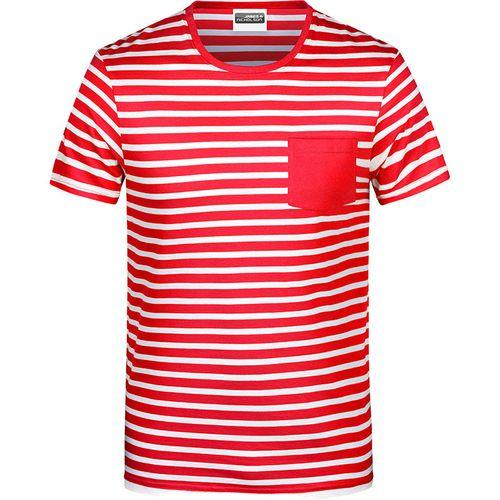 T-shirt bio rayé Homme - rouge