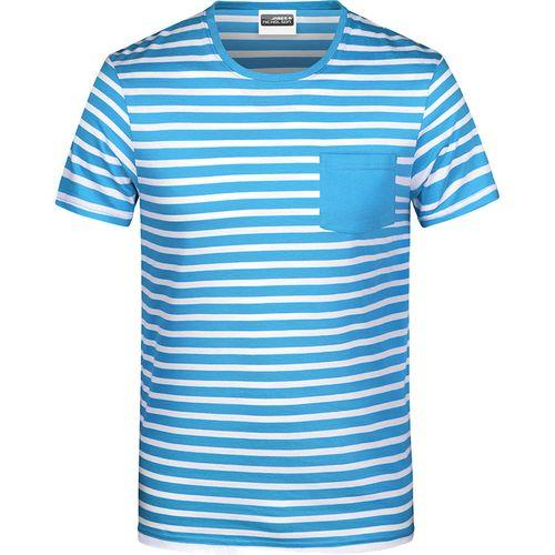 T-shirt bio rayé Homme - bleu atlantique