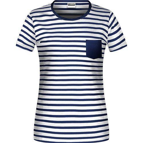 T-shirt bio rayé Femme - bleu marine