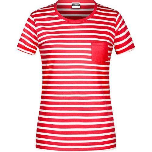 T-shirt bio rayé Femme - rouge