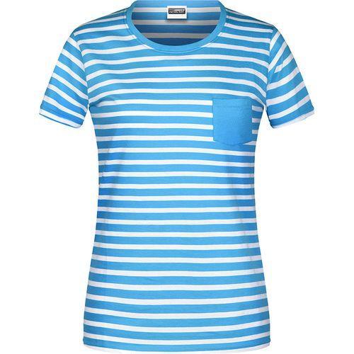 T-shirt bio rayé Femme - bleu atlantique