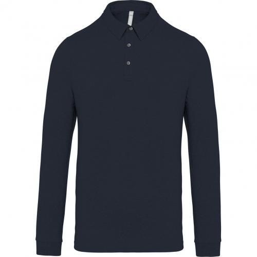 Polo jersey manches longues homme - bleu marine