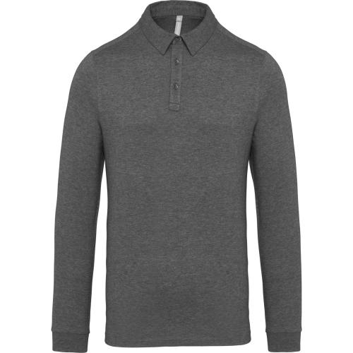 Polo jersey manches longues homme - gris chiné