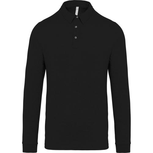 Polo jersey manches longues homme - noir