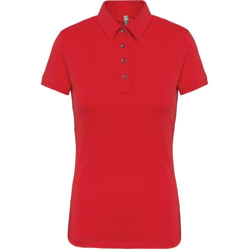 Polo jersey manches courtes femme - rouge