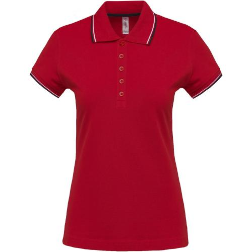 POLO MANCHES COURTES FEMME - rouge